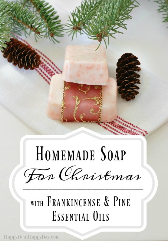 Easy Melt and Pour Soap Recipes: How To Make Homemade Soap for Christmas with Frankincense and Pine Essential Oils - make 12 bars in less than an hour!!! Perfect DIY Christmas Gift idea!