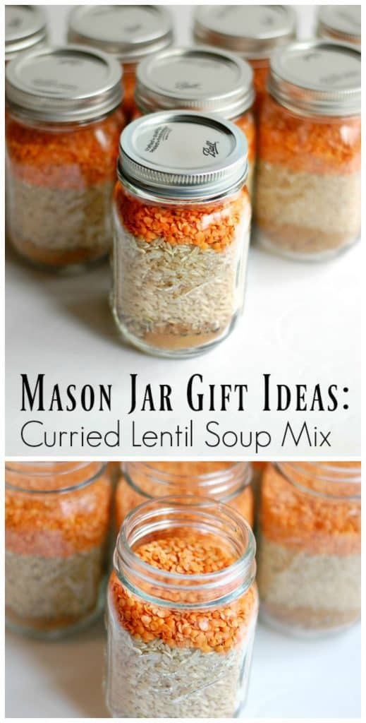 Mason Jar Gift Ideas: Curried Lentil Soup Mix! This is a frugal way to give a practical and delicious gift! Add the printable recipe card and a fun Nessy ladle for the final touch! Print your free recipe card here: http://wp.me/pUbK5-vye