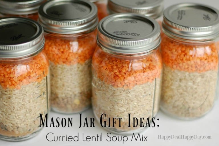 Mason Jar Gift Ideas:  Curried Lentil Soup Mix