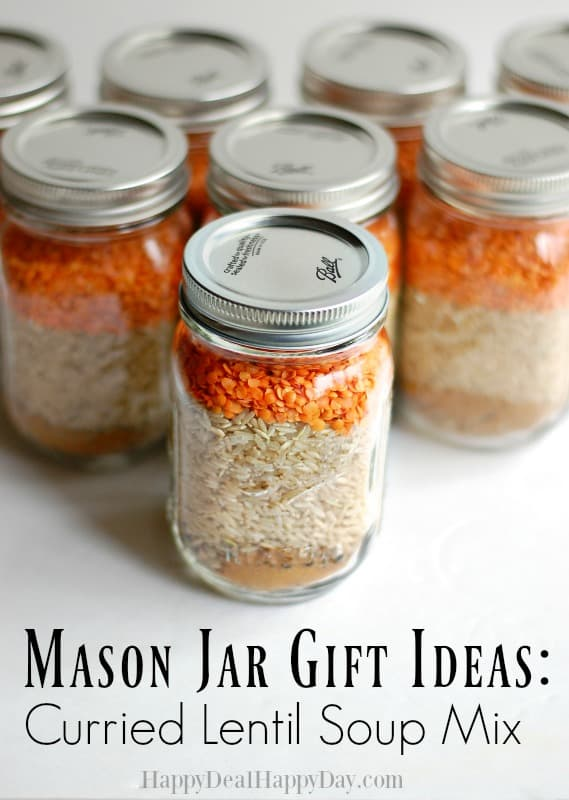 Mason Jar Gift Ideas: Curried Lentil Soup Mix! This is a frugal way to give a practical and delicious gift! Add the printable recipe card and a fun Nessy ladle for the final touch!
