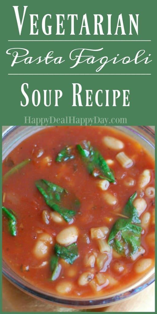 Vegetarian Pasta Fagioli Soup Recipe - This was inspired by a Wegmans Menu Magazine recipe - but this version is vegetarian. #vegetariansouprecipe