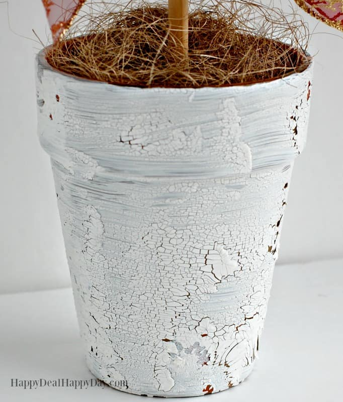 Pinecone Topiary with White Crackle Texture Paint