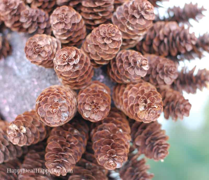 DIY Pinecone Topiary with White Crackle Texture Paint