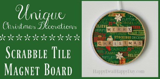 Homemade Christmas Decorations:  Scrabble Tile Magnet Boards