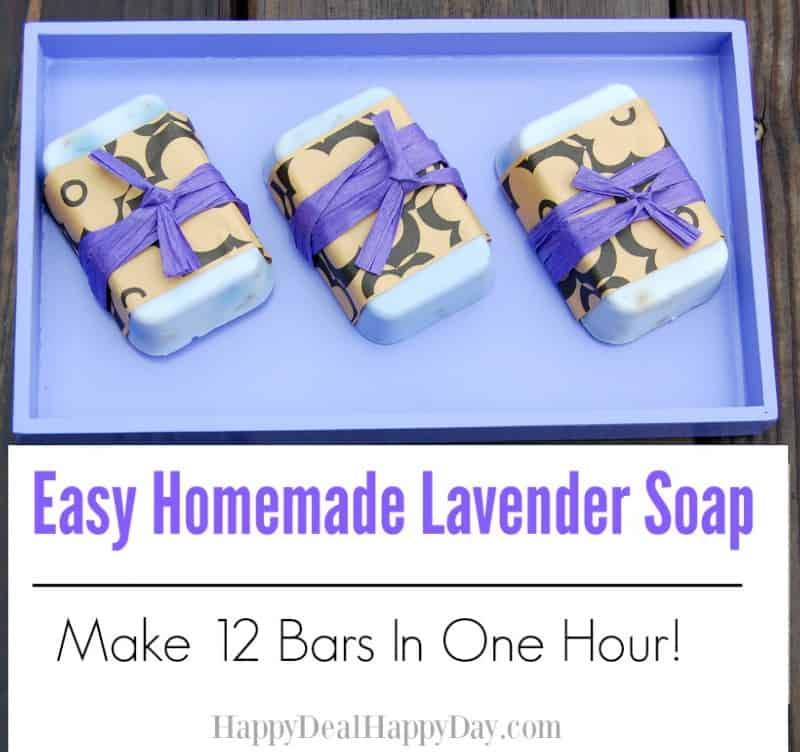 Homemade Lavender Soap on lavender colored tray