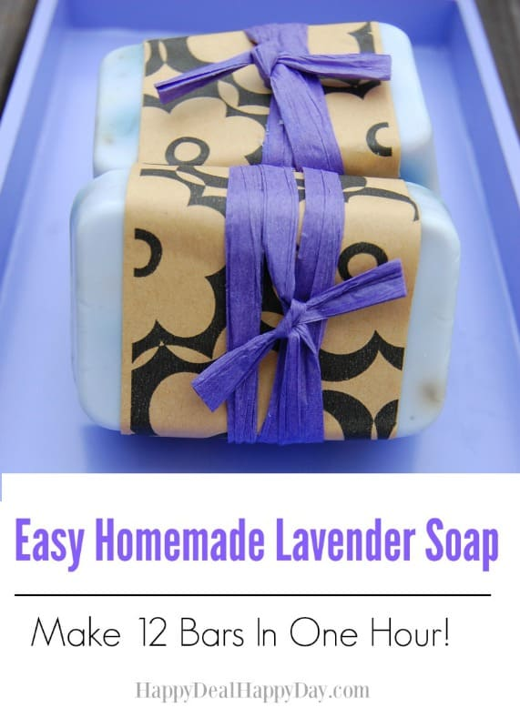 Easy Homemade Lavender Soap – Make 12 Bars in One Hour!  This makes a wonderful gift!  This is the perfect melt and pour recipe to start with when you first start creating your own soap bars!  happydealhappyday.com