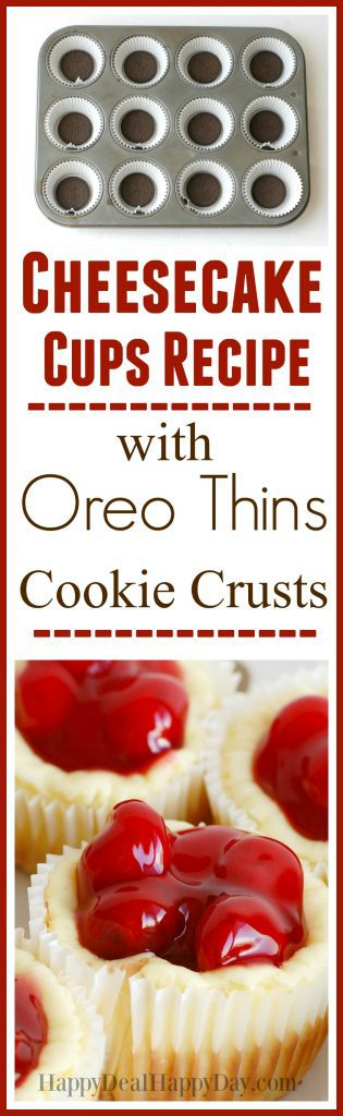 Cheesecake Cups Recipe with Oreo Thins Cookie Crusts Recipe - add an optional chocolate spoon as a fun garnish!  This is a melt in your mouth crowd pleaser for sure!