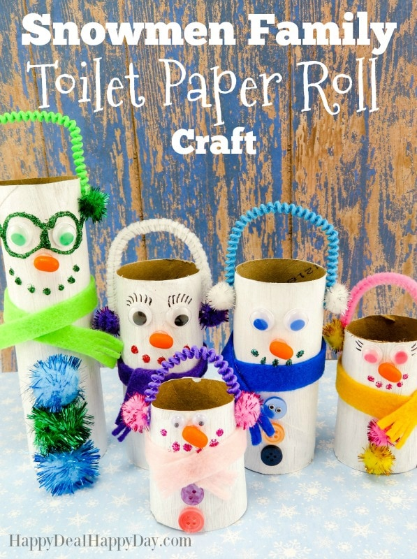 Snowmen Family Toilet Paper Roll Craft - this is a fun winter craft to do with the kids! Frugal and fun kids craft!