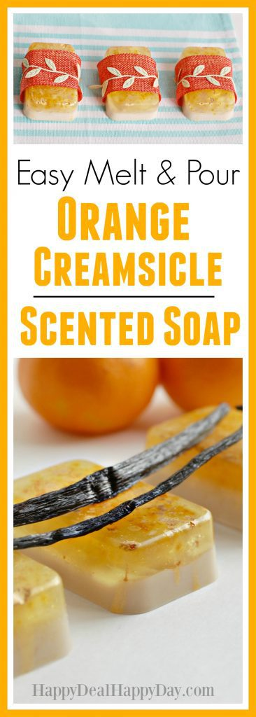 Easy Melt & Pour Orange Creamsicle Soap Recipe - This is an easy way to make 12 bars in an hour - easier than you might think!