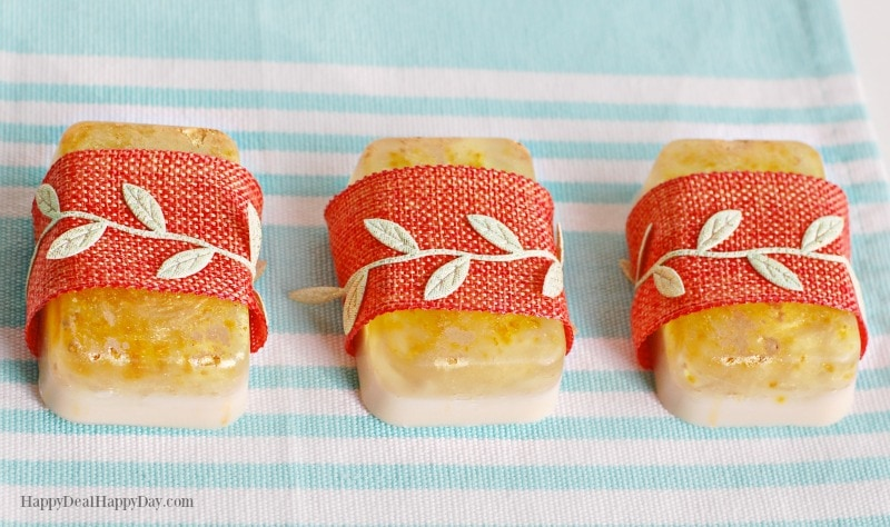 Melt & Pour Easy Soap Recipes: Orange Creamsicle Soap Bars with burlap and gold leaf ribbon