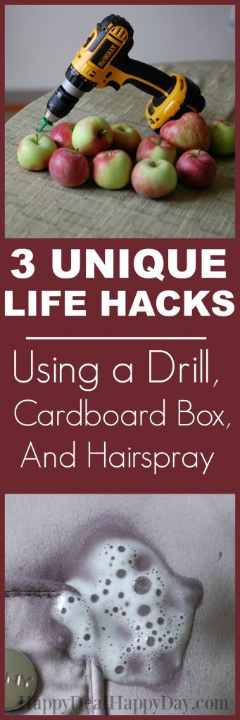 Here are 3 unique life hacks, using a drill, cardboard box, and hairspray!  Click on the posts and you can watch a short (less than 2 min.) video on how each one works!