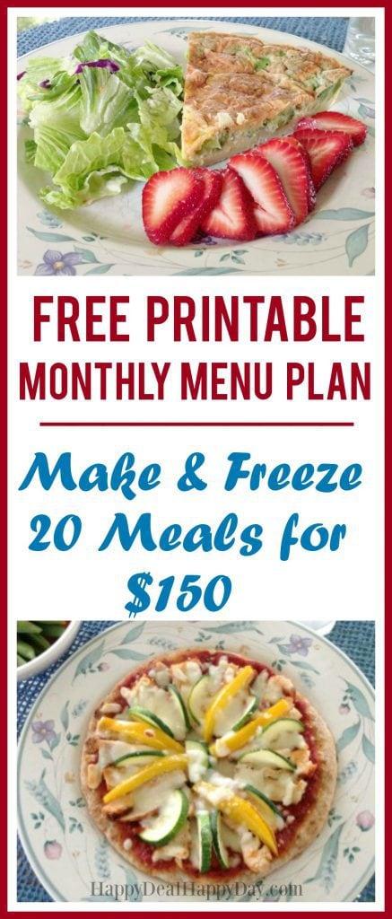 Free Printable Monthly Menu Plan