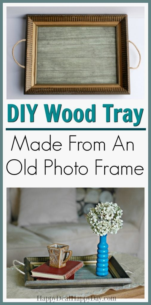 DIY wood tray made from an old photo frame
