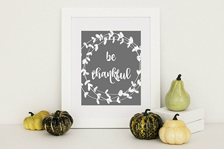 Great Be Thankful Print Rustic Home Wall Decor