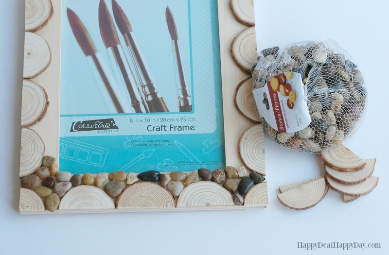 Easy DIY Wood Slab & Pebble Photo Frame