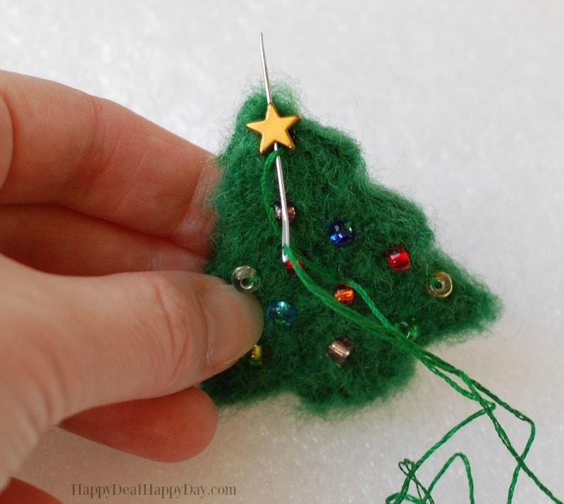 DIY essential oil diffuser ornament sew on star