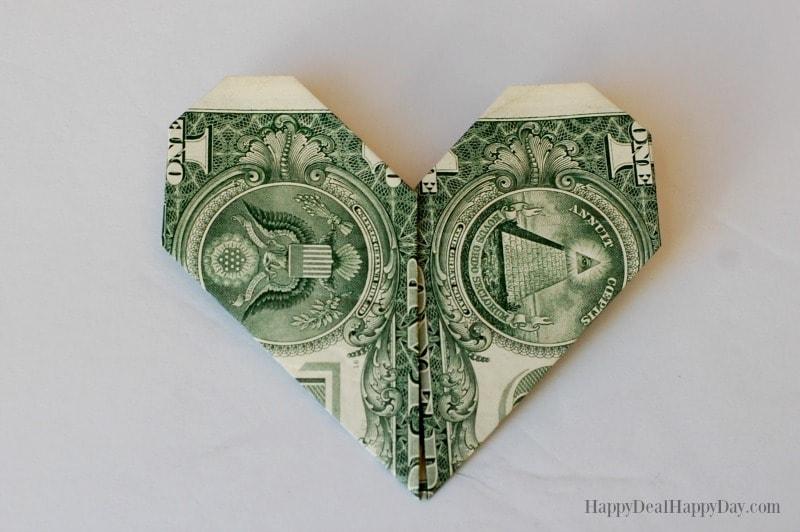 Heart Shaped Dollar Origami
