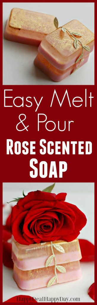 Easy melt and pour rose soap - I used both glycerin soap and goat's milk soap - with gold mica sparkles!