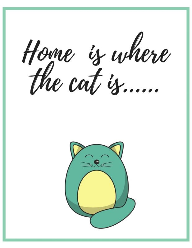 Free printable wall art for your home - 4 styles to choose from!  Download, print, and frame right from home!!  #freeprintable #wallart #freeprintablewallart #loveliveshere #catlovers #home #journey