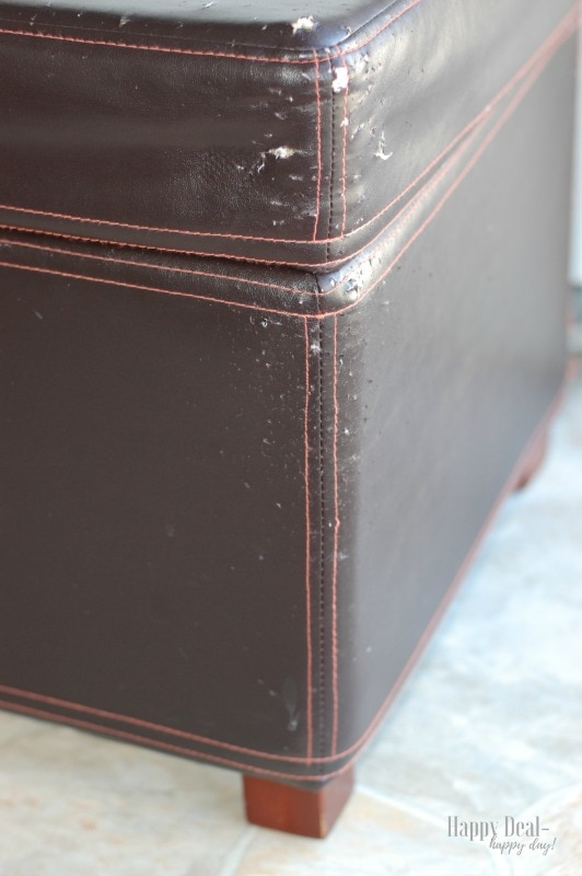 How To Reupholster an Ottoman - before picture