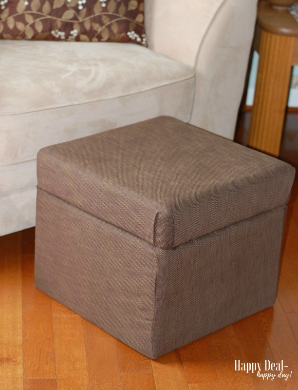 How To Reupholster an Ottoman - after photo