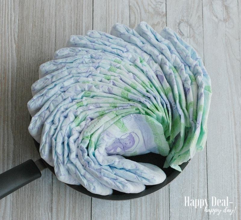 DIY Diaper Tricycle Tutorial diapers in frying pan