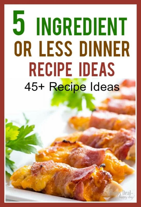 5 Ingredient or less dinner recipe ideas - this comes with a free printable recipe card so you can write these down quickly!  #easydinner #dinnerrecipes #easyrecipes