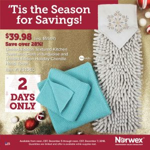 Norwex 2 Day Flash Sale:  28% off Limited Edition Textured Kitchen Towel, Cloth, and Chenille Hand Towel!