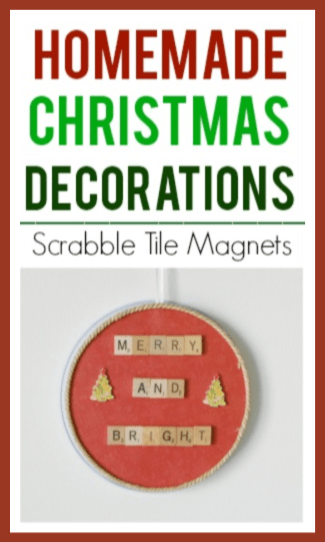 Homemade Christmas Decorations with scrabble tiles