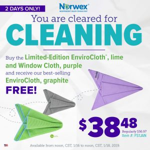 Norwex 2 Day Flash Sale:  Free Limited Edition Envirocloth with Purchase of Enviro/Window Cloth Set!