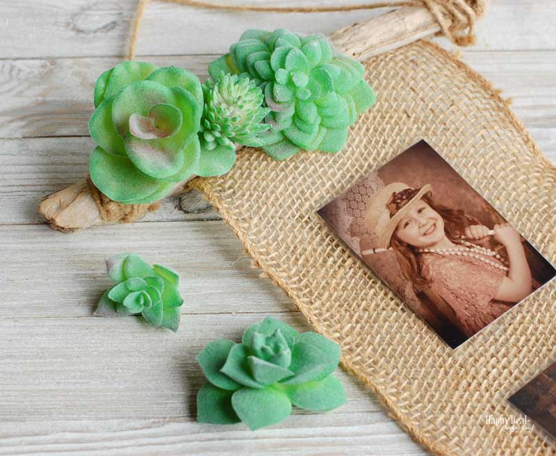 DIY Photo Print Wall Hanging with Faux Succulents and Burlap