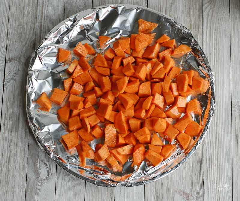 Sweet Potato Black Bean Dip- roasting sweet potatoes