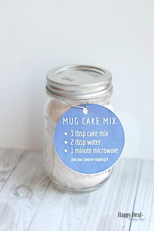 mug cake mix in mason jar with recipe tag