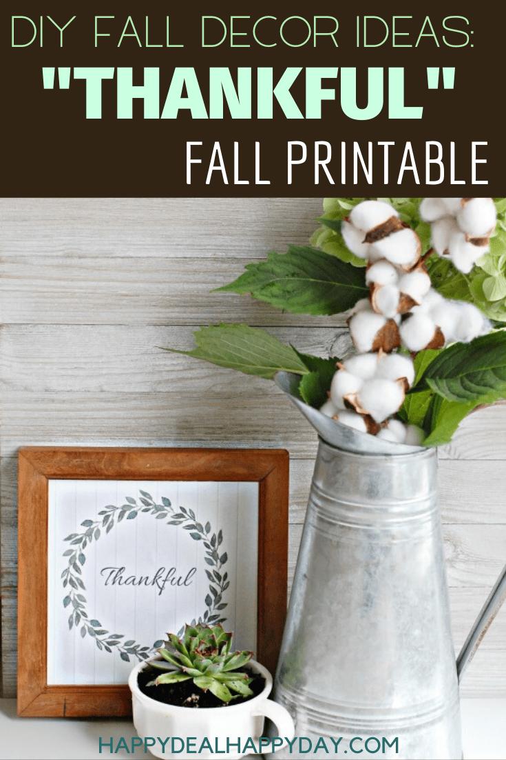 diy fall decor ideas: thankful fall printable