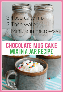 Easy Homemade Gift Ideas - chocolate mug cake mix in a jar