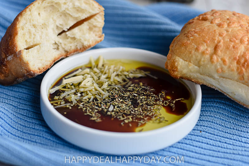 olive oil bread dip with Asiago bread