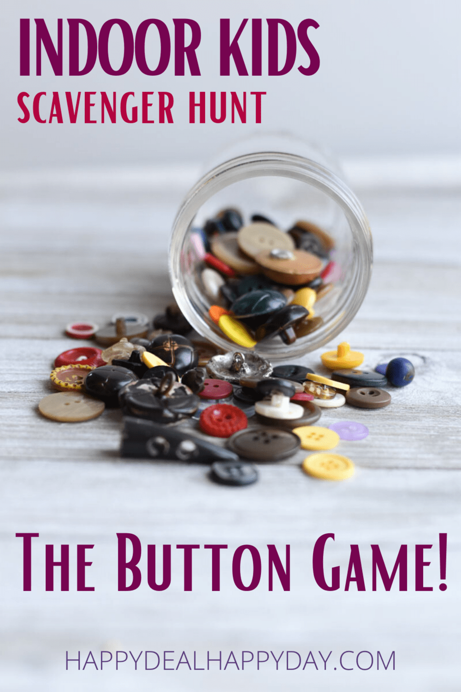 Indoor kids scavenger hunt button game