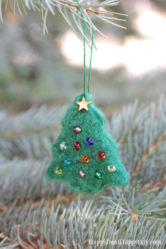 DIY Christmas Gift Idea  needle felted christmas tree ornament essential oil diffuser