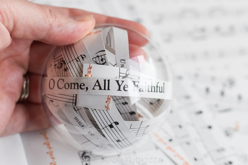 Clear Plastic Ornament Filled With Christmas Carol Lyrics