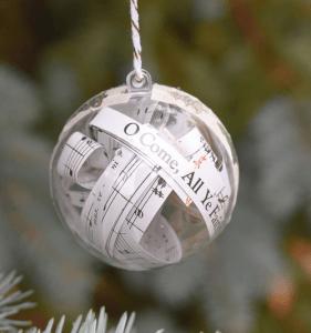 Christmas Carol Lyrics Filled Christmas Ornament