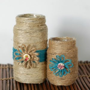 twine covered jars with flower loom flowers