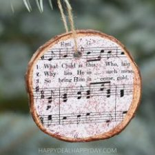 Thrift Store Ornaments:  Repurposed Wood Slab Christmas Ornament