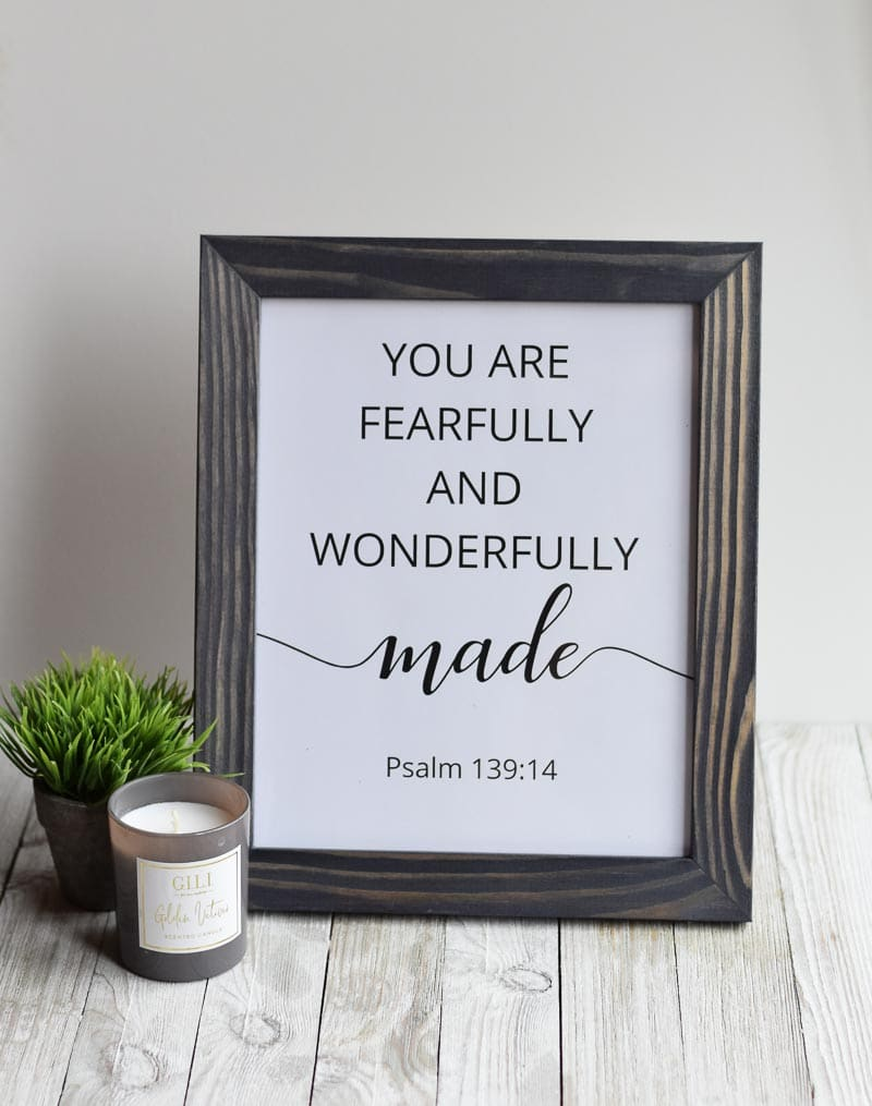 """""""You Are Fearfully And Wonderfully Made"""" printable wall art"""