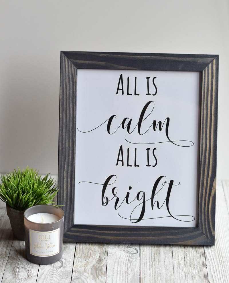 """""""All Is Calm All Is Bright"""" printable wall art"""