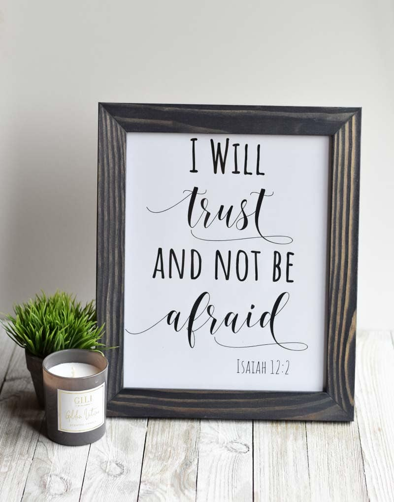 """""""I Will Trust And Not Be Afraid"""" printable wall art"""