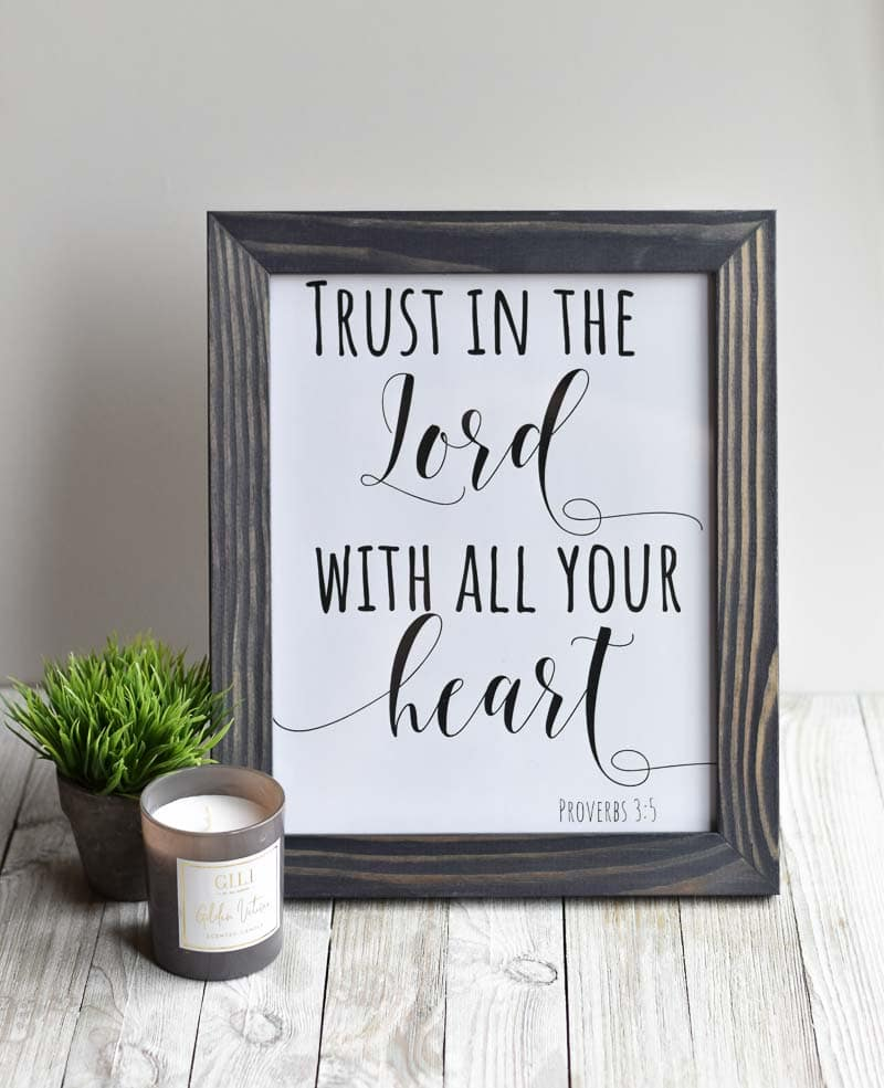"""""""Trust In The Lord With All Your Heart"""" printable wall art"""
