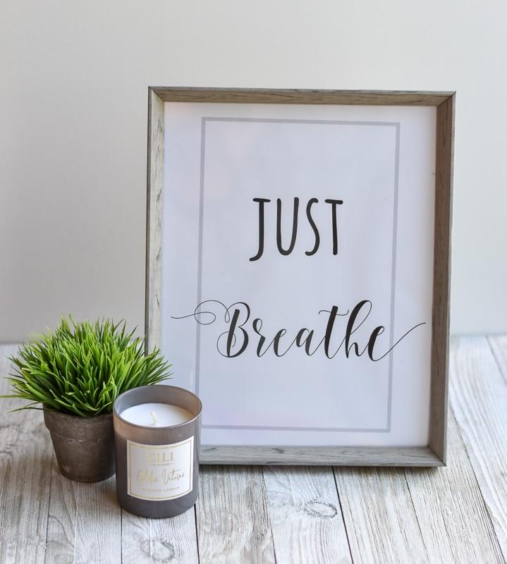 """Just Breath"" printable wall art"
