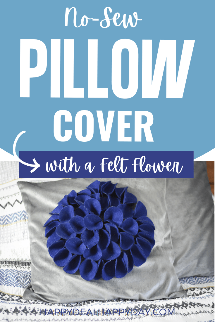 no sew pillow cover with a felt flower