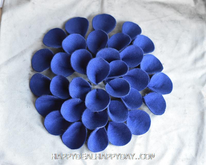 felt flower on a pillow cover