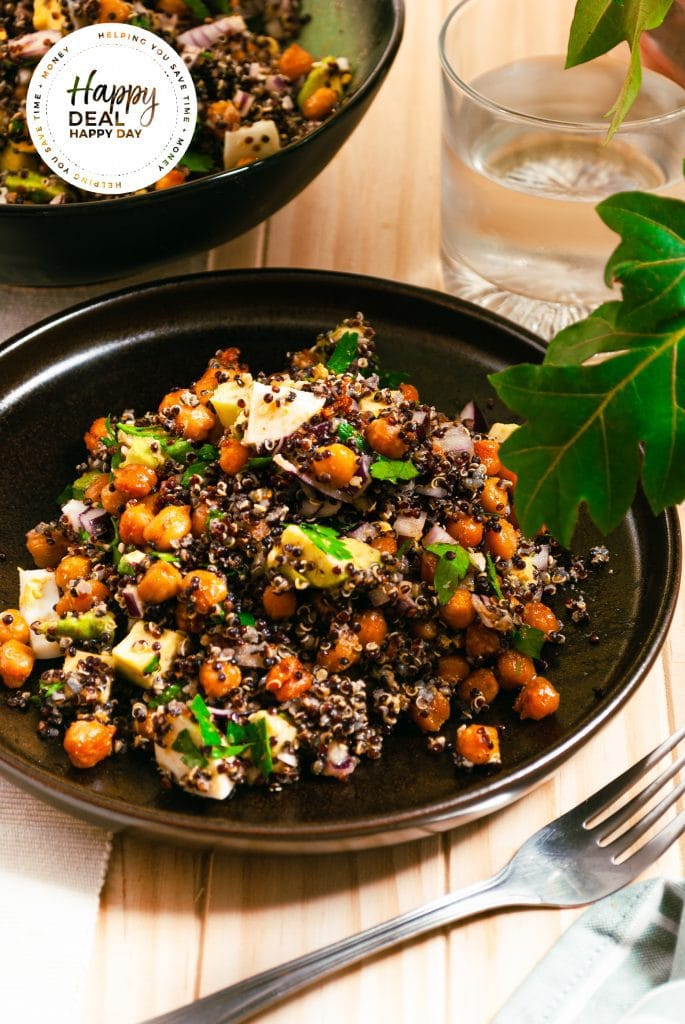 quinoa salad with spicy chickpeas and fresh herbs and avocado